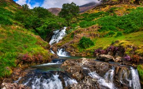 Snowdonia, United Kingdom, Mountains, river, waterfall, landscape