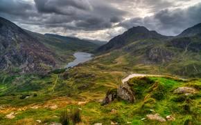 Сноудония, великобритания, горы, озеро, дорога, пейзаж