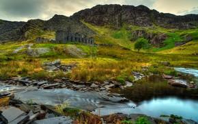Сноудония, великобритания, горы, скалы, река, руины, пейзаж