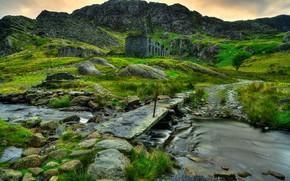 Сноудония, великобритания, горы, скалы, река, руины, мостик, пейзаж
