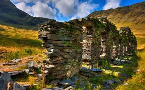Сноудония, великобритания, горы, руины, пейзаж