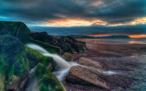 sea, shore, sunset, stones, FLOW, landscape
