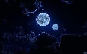 notte, cielo, nuvole, Planet