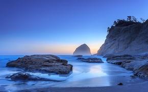Haystack Rock, Cannon Beach, Oregon, Pacific Ocean, Кэннон Бич, Орегон, Тихий океан, скалы, побережье
