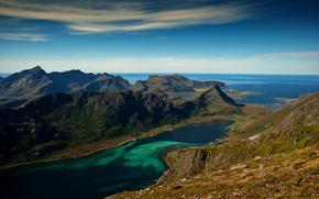 Mountains, sea, sky, nature, landscape