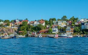 Svezia, costa, Stoccolma, città, domestico, ormeggio, barche