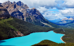 Mountains, landscape, Canada, lake, nature, landscape