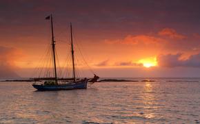Рассветы и закаты, Яхта, Парусные, Небо, Море, Природа