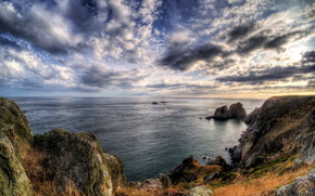 coast, sky, landscape, sea, Alderney Channel Islands, Clouds HDR, HORIZON
