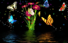 бабочки, цветы, 3d