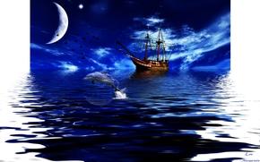 karabl, dolphin, sea