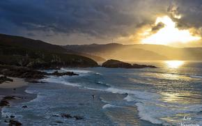 tramonto, mare, puntellare, paesaggio