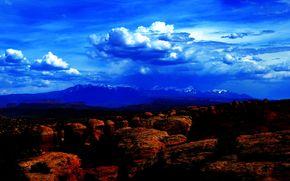 山脈, 岩, 雲, 空, 自然, 風景