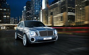 bentley, 2012, EXP 9 F, blue, in front, luxurious, car, city