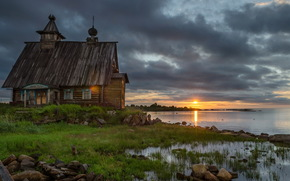 temple, monastery, cathedral, Ukraine, DAWN, sunset, Solovki, clouds, sun, wood