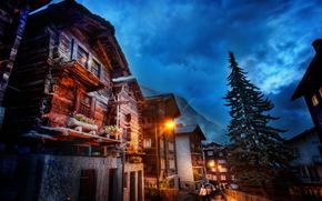 Швейцария, дома, небо, Zermatt, фонари, облака, ночь, HDR, лучи света, город