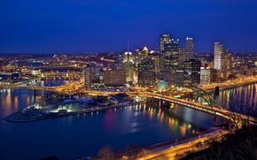 США, Мост, Река, Дома, Pittsburgh, Ночь, Сверху, Водный канал, Города