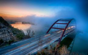 Morning Fog, Pennybacker Bridge, austin, texas, USA