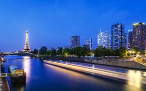 París, Francia, Pont de Grenelle, La tour Eiffel, Torre Eiffel, Jábega, París, Francia, Grenelle Puente, Torre Eiffel, río, Heno, agua, barco, exposición, luz, ciudad, noche, luces, Rascacielos