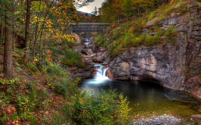 Bridge in Franconia State Park, New Hampshire, river, trees, landscape