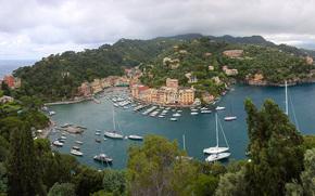Portofino, porto, yacht, Italia, HDR, panorama