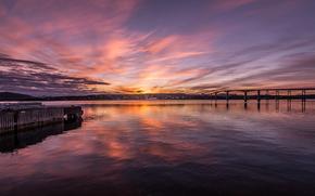 Norther Norwayzakat, river, sunset, bridge, wharf, landscape