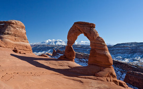 Delicate Arch, Utah, USA, Montagne, Rocce, arco