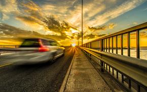 m?quina, acelerar, ponte, p?r do sol, Norte da Noruega