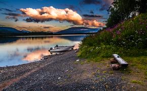 Norvegia settentrionale, tramonto, fiume, barche a motore, Un banco, paesaggio