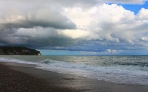 mar, cielo, nubes, NUBES