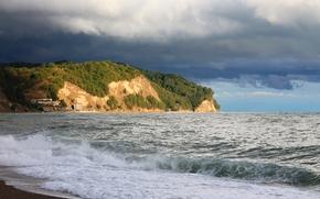 mar, cielo, nubes, playa