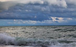 mar, cielo, nubes