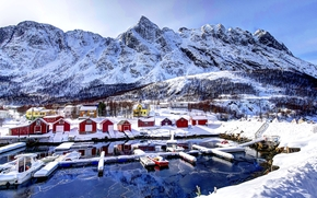 norway, Mountains, home, winter, snow, wharf, landscape