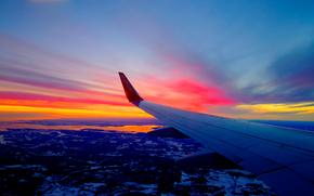 Norway, закат, вид с верху, крыло самолёта