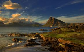 sea, Mountains, Rocks, landscape