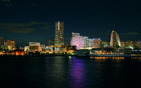 japan, yokohama, naght, night, Japan, Yokohama, home, night, mooring.