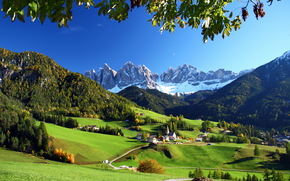 landscape, Italy, Mountains, meadows, Funes, nature