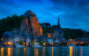 Vallonia, Belgio, città, fiume, ponte