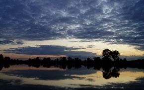 sunset, sky, lake, landscape