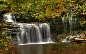瀑布, 树, 岩石, 性质