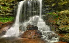 водопад, скалы, природа
