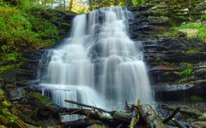 cascada, árboles, Rocas, naturaleza