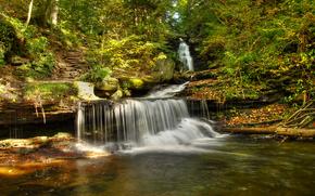 водопад, деревья, скалы, природа