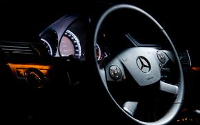 mercedes-benz e class, машина, руль