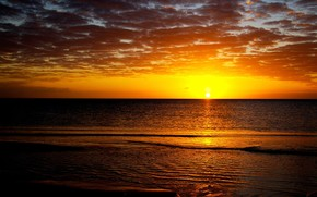 закат, солнце, море