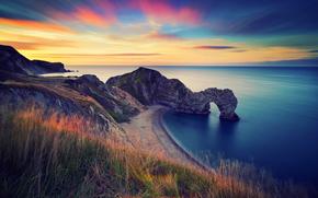 Inghilterra, mattinata, mare, Rocce, arco, durdle porta