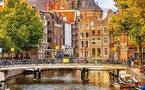 Amsterdam, Nederland, Амстердам, Нидерланды, осень, деревья, город, дома, здания, архитектура, мост, велосипеды, канал, река, лодки, люди