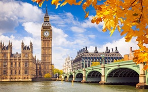london, england, Westminster Palace, Big Ben, great britain, London, England, Palace of Westminster, Big Ben, United Kingdom, bridge, Thames, Thames, river, building, architecture, sky, clouds, autumn, background, foliage, yellow