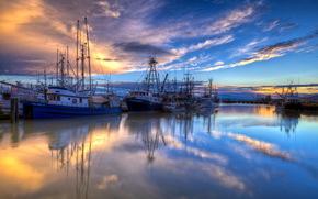 tramonto, porto, navi, paesaggio