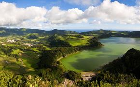 пейзаж, Португалия, Azores, San Miguel, сверху, облака, природа